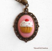 Collana  cupcake cammeo in bronzo