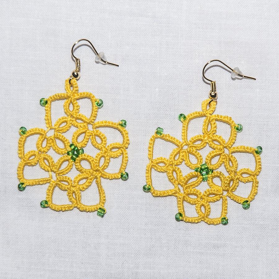 Orecchini al chiacchierino gialli e perline verdi Summer 2016