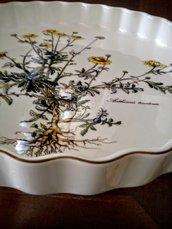 Tortiera vintage in porcellana, serie botanica Villeroy & Boch con decoro piccoli girasoli