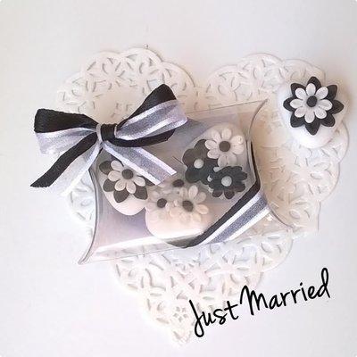 confettata, segnaposto, confetti decorati, black and white, wedding, matrimonio