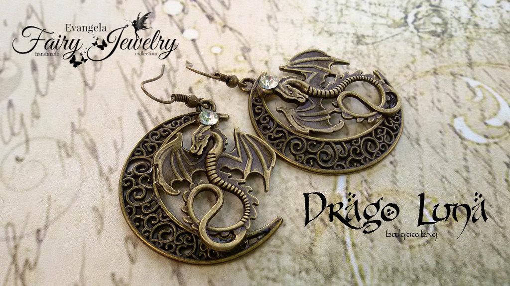 Orecchini drago luna bronzo pendenti intarsiato
