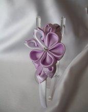 Cerchietto con fiore Kanzashi lilla