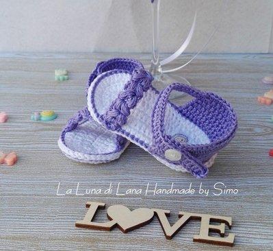 Sandali neonata uncinetto cotone
