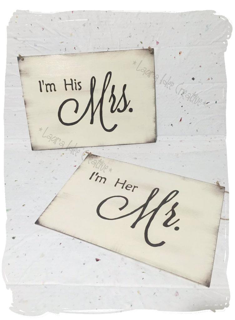 Wedding chair Signs: N. 2 Targhe matrimonio in legno da appendere alla sedia degli sposi