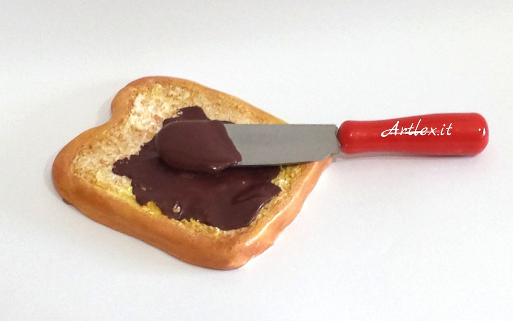 Magnete  fetta di pane con cioccolato e coltello