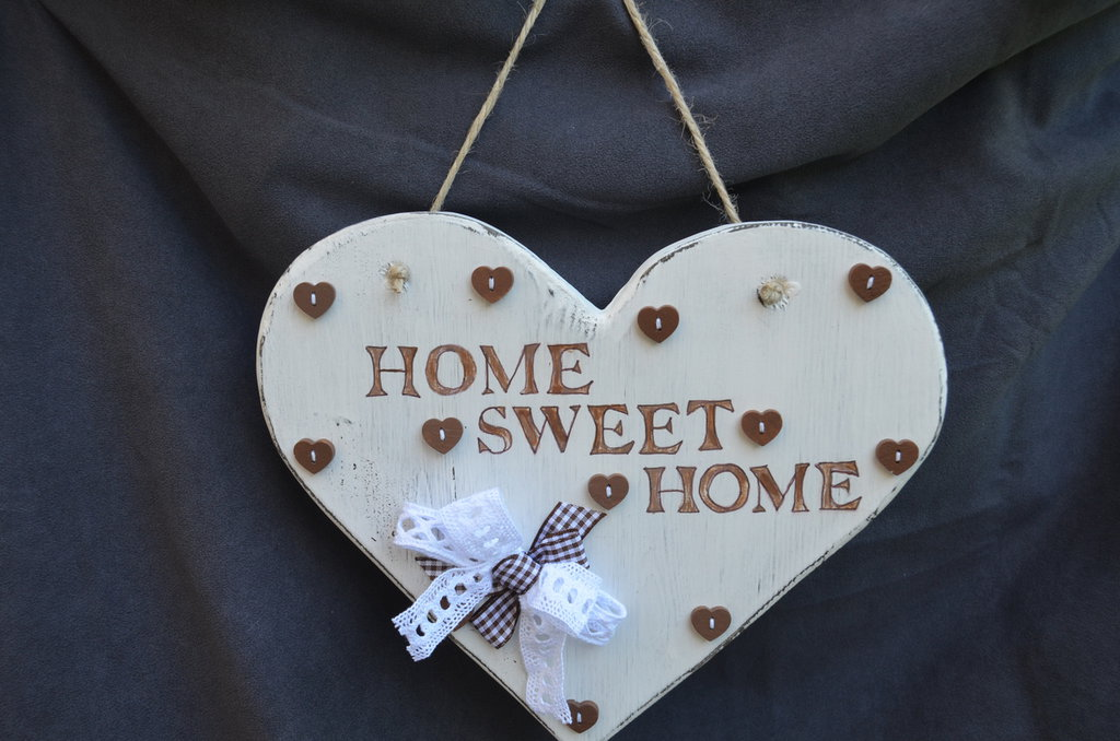"""Fuoriporta Cuore Shabby Chic """"HOME SWEET HOME """""""