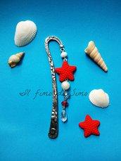 segnalibro in metallo con stella marina in pasta polimerica