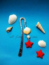 segnalibro in metallo con conchiglia e stella marina in pasta polimerica