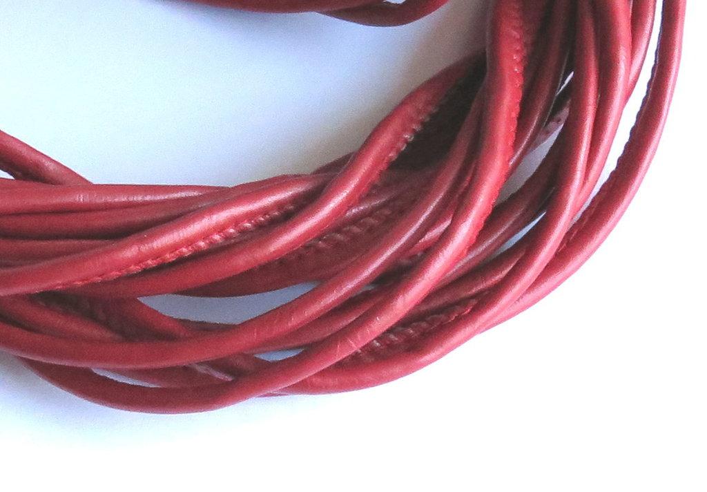 1 metro Cordino in pelle rosso FCO32