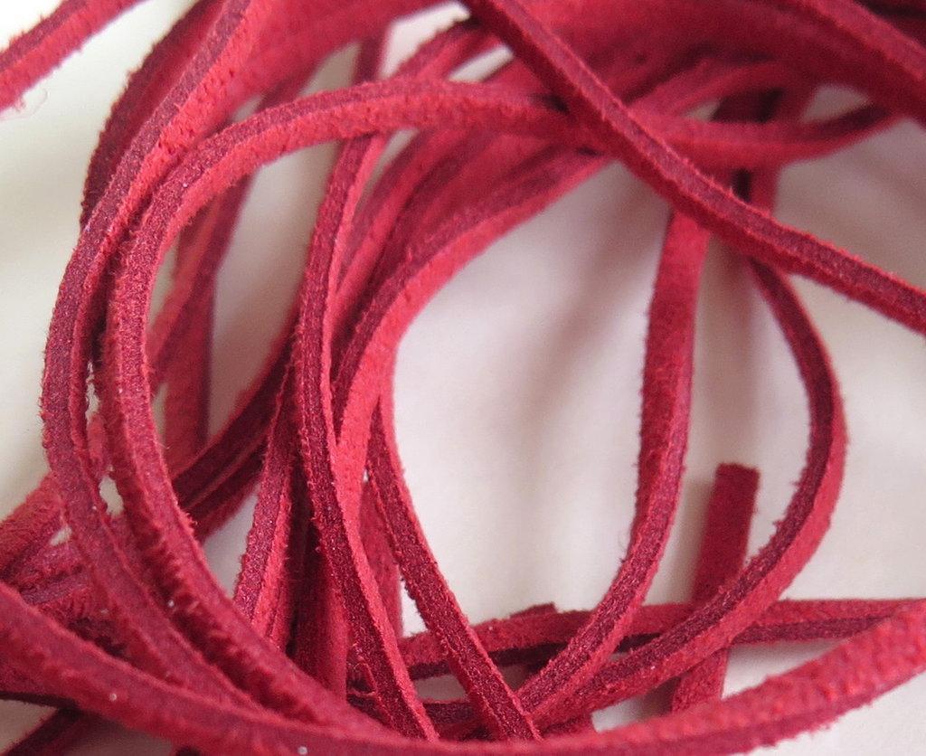 Cordino piatto alcantara rosso mattone FCO50