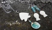 Parure pesci pietra lavica vulcanica chips amazzonite conchiglie mare perle fiume collana orecchini