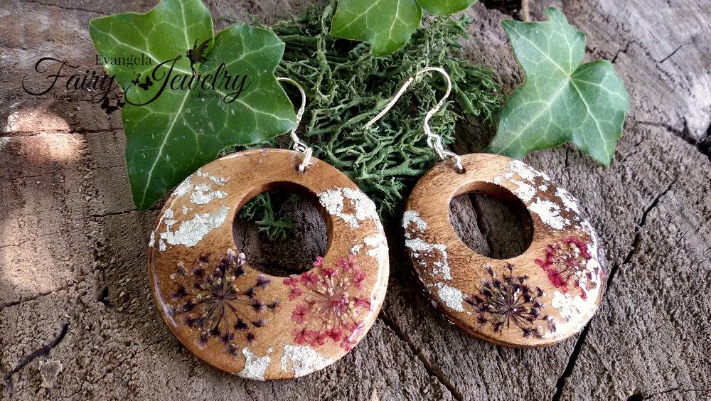 Orecchini legno naturale cerchio fiori pressati argento 925 gioielli botanici