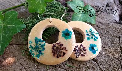 Orecchini legno naturale fiori pizzo sant anna gioielli giardino argento 925