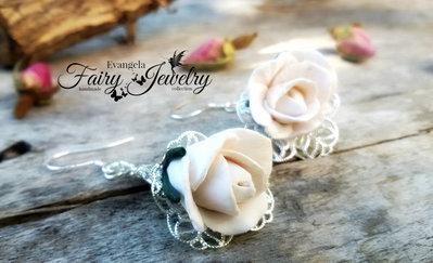 Orecchini rose bianche fimo filigrana pendenti argento 925