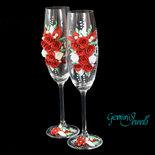 Wedding flutes, decorati a mano con fimo e perle, rosso e bianco