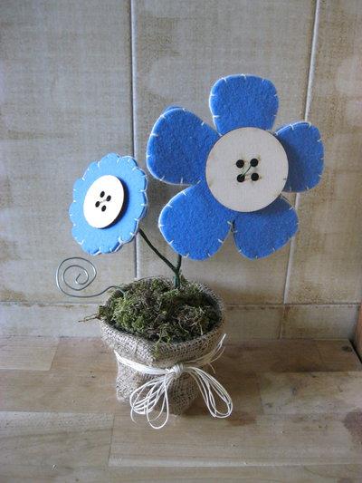 vaso margherite porta foto azzurro