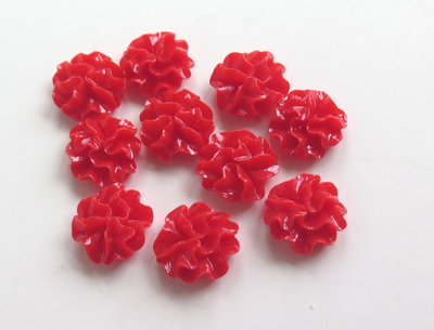 6 Cabochon IN RESINA ROSSO PRL27
