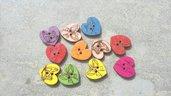 OFFERTA 10 bottoni legno cuore fantasia 20 x20mm