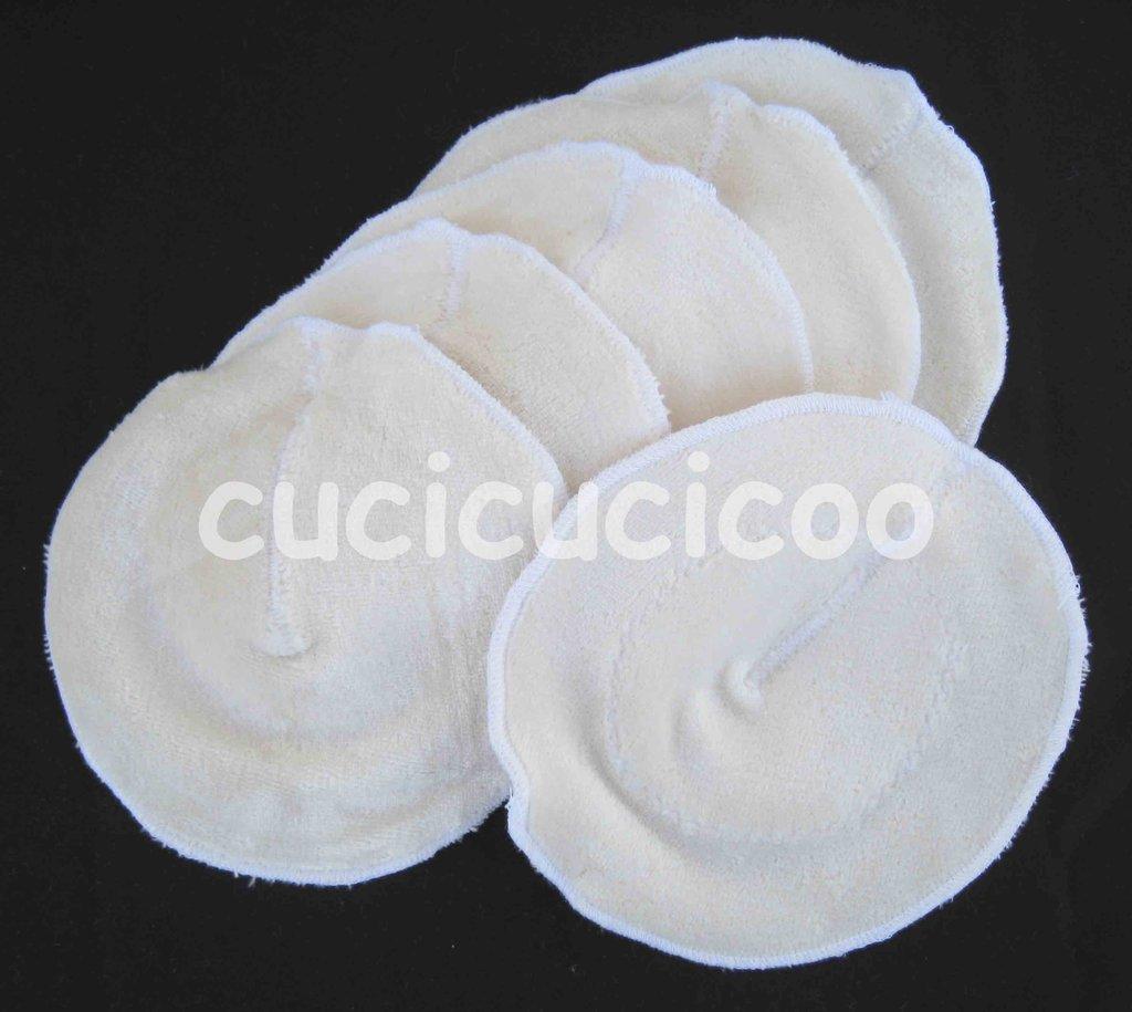 set di 6 coppette assorbilatte lavabili (BAMBU BIO bianco)