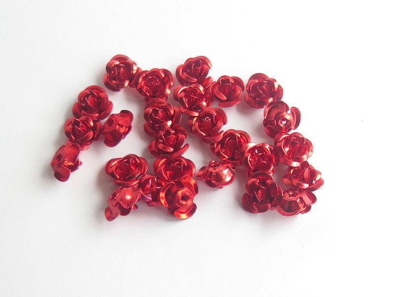 20 Applicazioni in alluminio a forma di rosa ROSSO PRL57