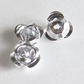 20 Applicazioni in alluminio a forma di rosa ARGENTO PRL63