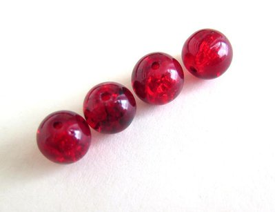 30 Perle CRACKLE GLASS RED PRL72