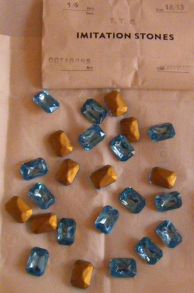 1 czech glass octagon TTC stones,18x13mm acquamarina