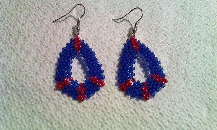 Orecchini pendenti blu-rosso, gancio free nikel