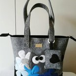 """Shopping bag in feltro,decorazioni in pannolenci """"GUFO GUFO' """" fatta a mano"""