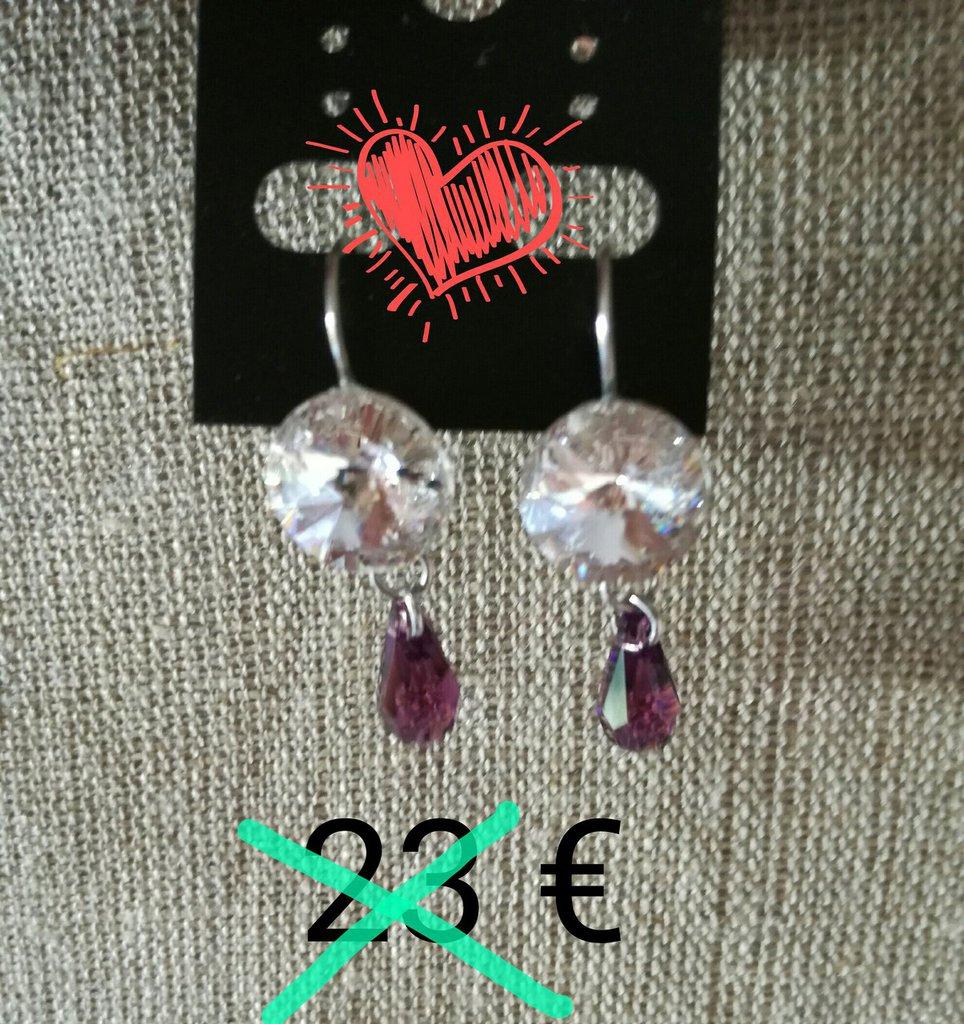 orecchini pendenti,con cristalli swarosvki bianchi,viola