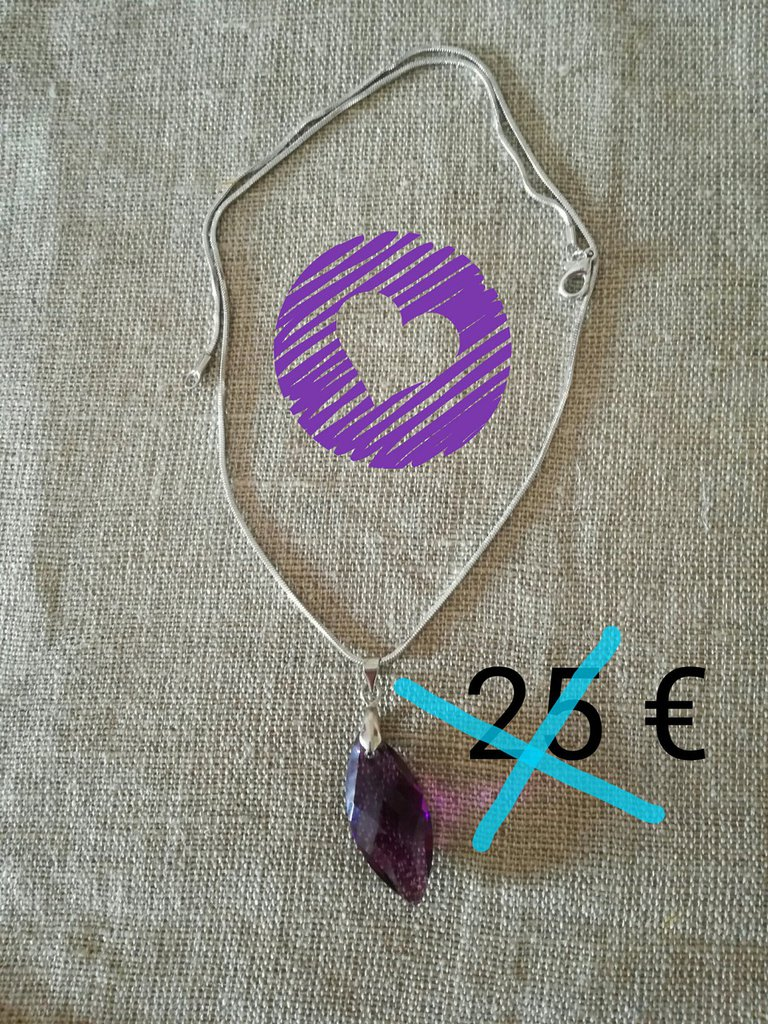collana con ciondolo swarosvki viola