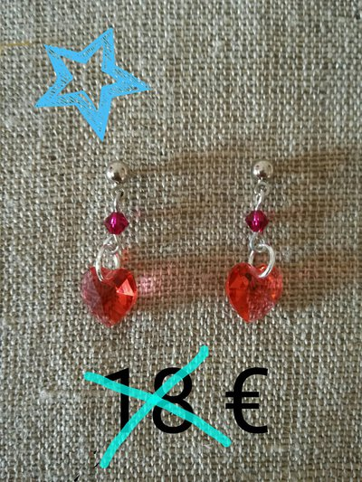 orecchini pendenti swarosvki rossi