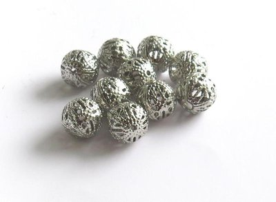 10 Perle filigrana scuro 10 mm  PRL90