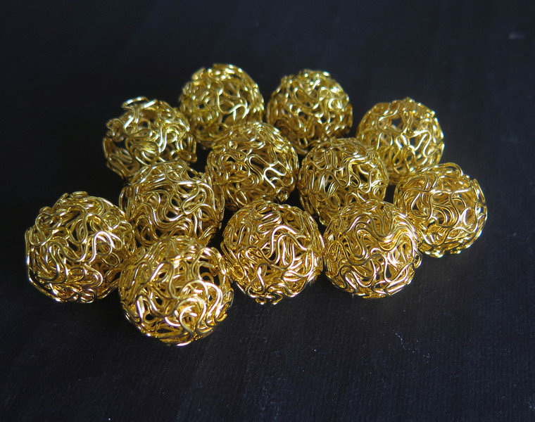 4 Perle TWIST GOLD 18 mm  PRL93