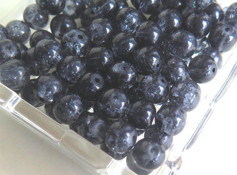 20 Perle di vetro BLACK 8mm PRL96