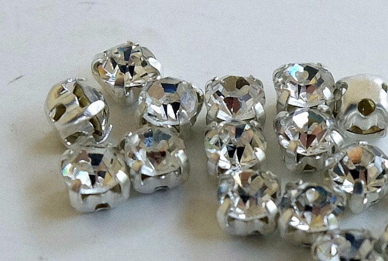 10 Strass bianco crystal incastonati PRL117