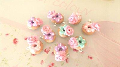 OFFERTA BOMBONIERE - matrimonio - nascita battesimo -CIAMBELLE DONUTS  con rosa    - fimo confetti porta confetti