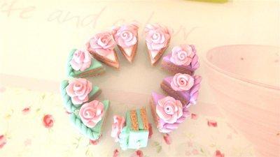 OFFERTA BOMBONIERE - matrimonio - nascita battesimo - FETTE di TORTA  con rosa    - fimo confetti porta confetti