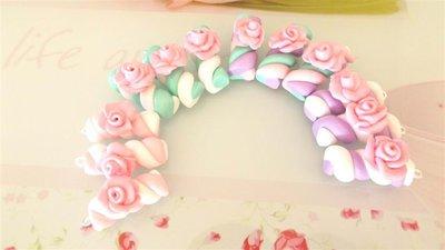 OFFERTA BOMBONIERE - matrimonio - nascita battesimo - MASHMALLOWS  con rosa    - fimo confetti porta confetti