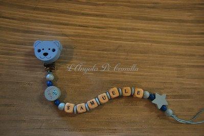 Catenella portaciuccio azzurra con orsacchiotto