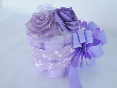 Mini torta di pannolini lilla e viola idea regalo o centrotavola per le feste