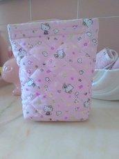 Porta trucchi rosa fantasia in tessuto di cotone trapuntato