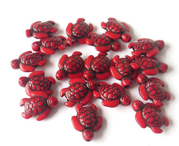 6 Perle ACRILICO Tartaruga rosso PRL126