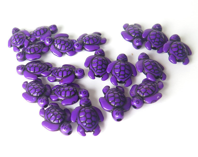 6 Perle ACRILICO Tartaruga viola PRL129