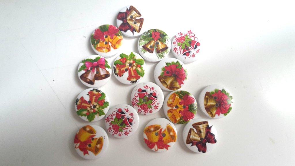 10 bottoni legno natale campanelle 20mm diametro