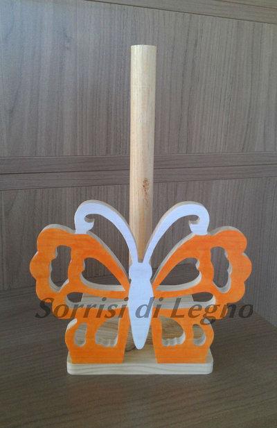 Portarotolo da cucina con farfalla tarforata, colore arancione