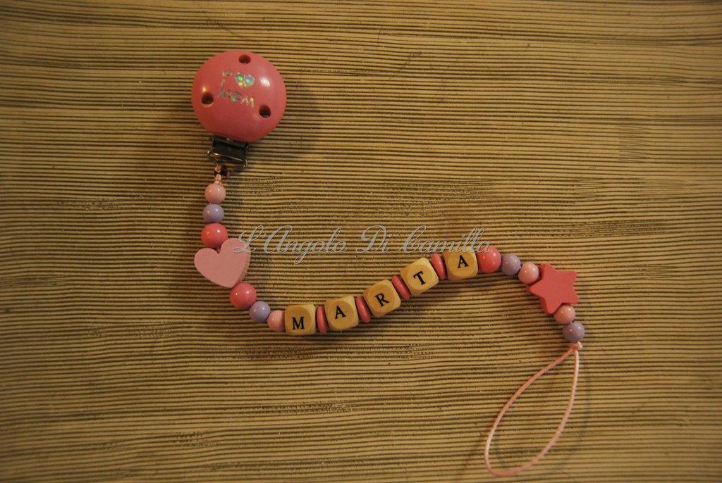 """Catenella portaciuccio rosa """" i love mom"""""""
