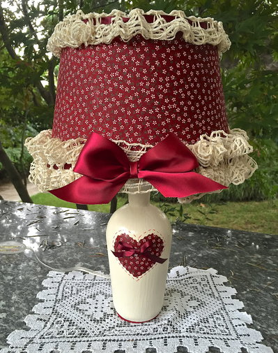 LAMPADA ROMANTIC SHABBY ROSSA
