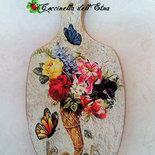 APPENDINO DECOUPAGE in legno TAGLIERE cornucopia fiorita e farfalle IDEA REGALO FESTA DELLA MAMMA