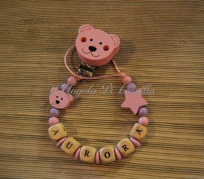Catenella portaciuccio rosa con orsetti